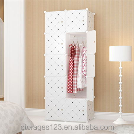 Multifunctional Large Space White Bottom Grid Series Plastic Wardrobe