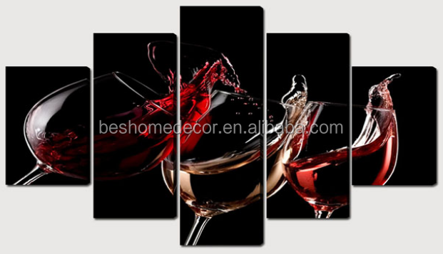 5 panels canvas art,wine picture,canvas prints cheap china