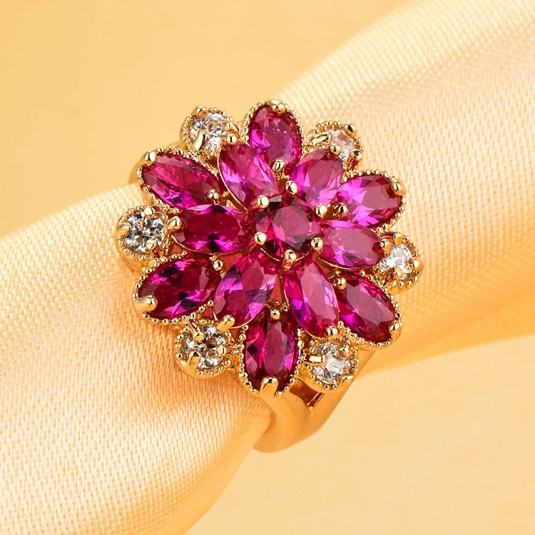European Style Flower Shaped Ring Design Vintage Real 18K Rose Gold Plated Red Zircon Crystal Bridal Rings