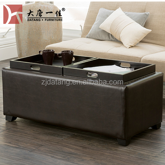 Custom stool ottoman storage bench with tray, leather storage ottoman with coffee table
