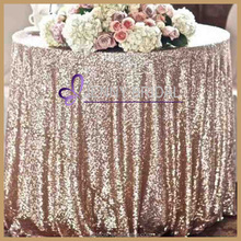 SQN#24 Champagne rose gold embroidered round sequin table cloth