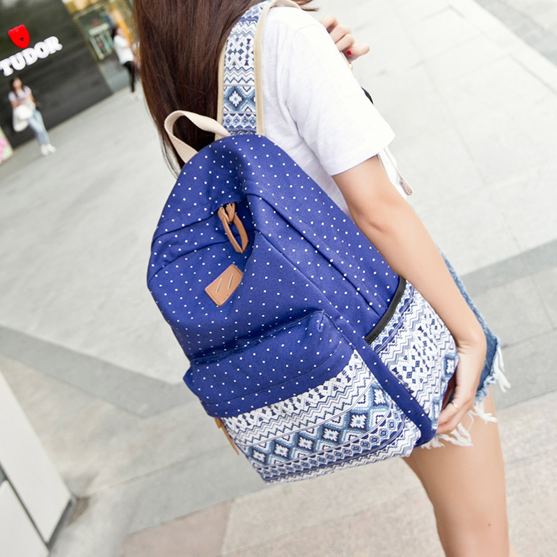 Best Casual Vintage Cute Dot Printing Canvas School Bags Backpack For Teenagers girls