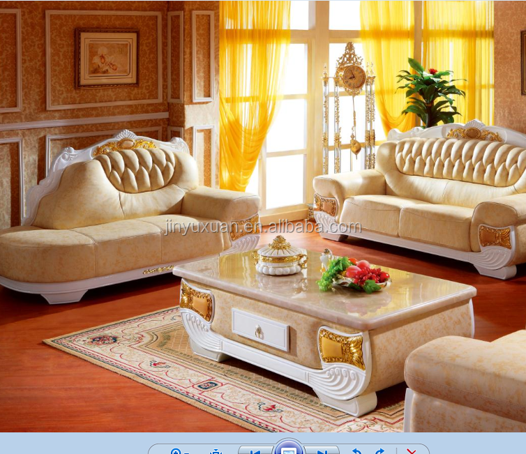 European Sofa Set with Loung Chaise and Tea Table W303S#