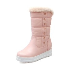 YX10A727 2017 Unique design stars rivets decoration pink ladies winter boots snow boots