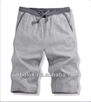 OEM fashion style Mens pants linen cotton shorts casual summer plain solid color pants