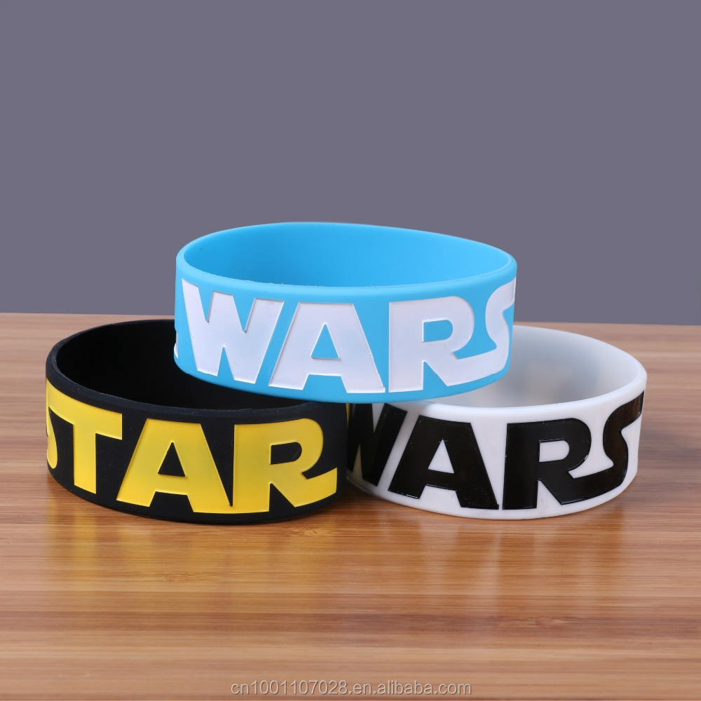 black blue White band Starwars wide silicone wristband sample logo rubber bracelet