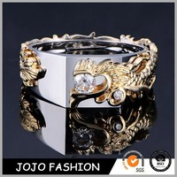 Wholesale costume jewelry, 316l stainless steel dragon men's gold ring, high quality gold ring