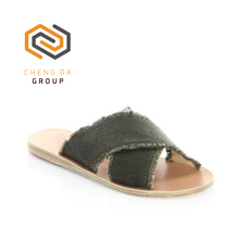 Ladies Open Toe Rubber Slide Sandals Criss-cross Strap And Frayed Edge Linen Upper Slippers