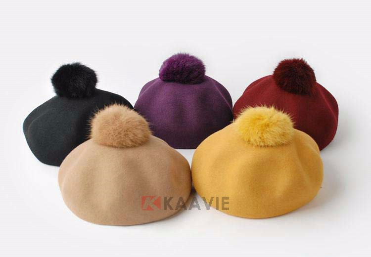 2015 fashion women ladies hats soft pure color beret cap with fur pom top