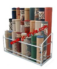 Retail rolling carpet rug display stand/shop yoga mats display rack for sales promotion/custom metal pet mats storage rack