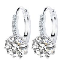 Top Selling Real Platinum Plated Luxury Stud Earring Inlay Zircon Ladies Wedding Jewelry