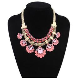 Imitation Jewelry Fashion Necklace Three Layers Box Chain and Dimond Chunky Chain Bib Gold Chain Diamond Necklace For Lady