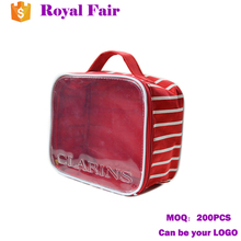 Custom Design PVC Cosmetic Bag Portable Travel Case with handle