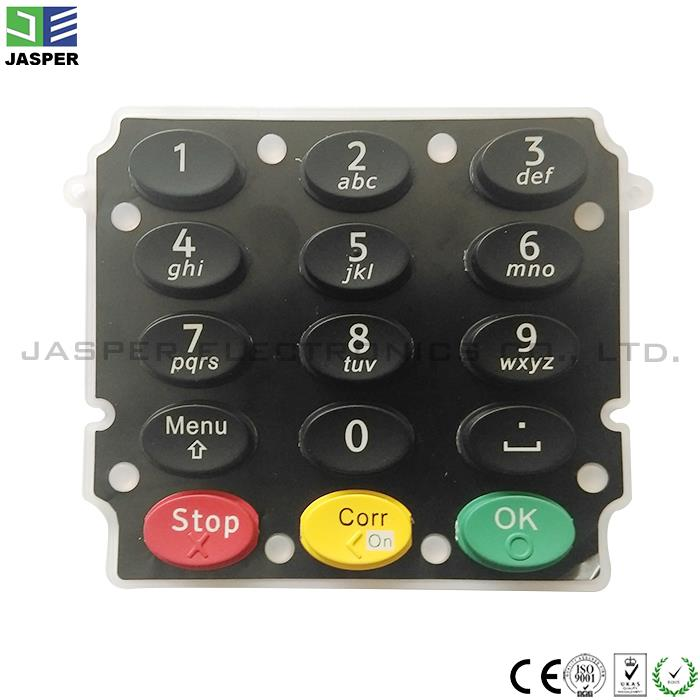 custom silicone tactile membrane switch 4x4 rubber keypad