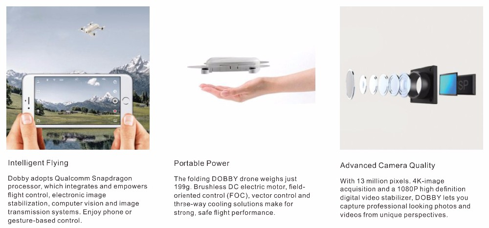 DOBBY pocket drone with high definition camera, Dobby drone