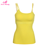 High Quality Yellow Detachable Padded Women Sleeveless Top Fashion Girl T Shirt