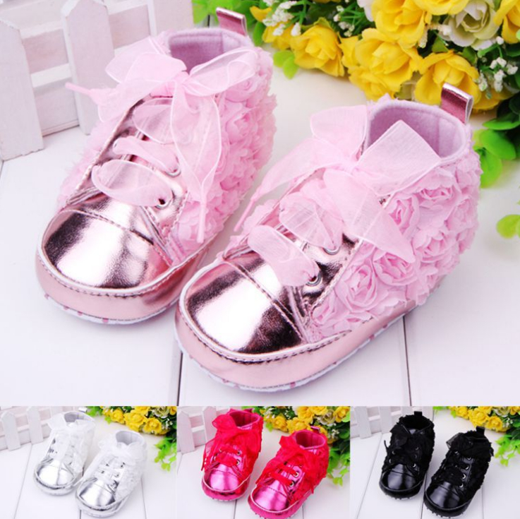 Baby Girls Toddler Soft Sole Rose Shoes Infant Lace Shoes