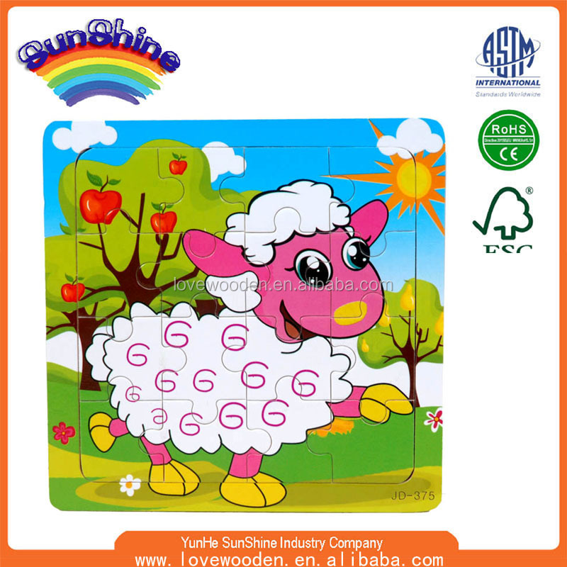 2015 New Hot Sell sheep 16pcsWooden Puzzles EN71 ASTM puzzle
