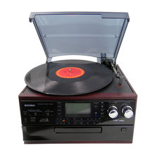 Hot sale Bluetooth vinyl record player with Built-in Stereo Speaker, vinyl player vintage, Vinyl To cassette Recording