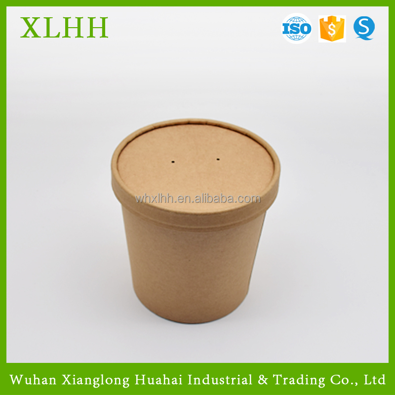 Compostable Takeaway Kraft Paper Soup Container with Lid