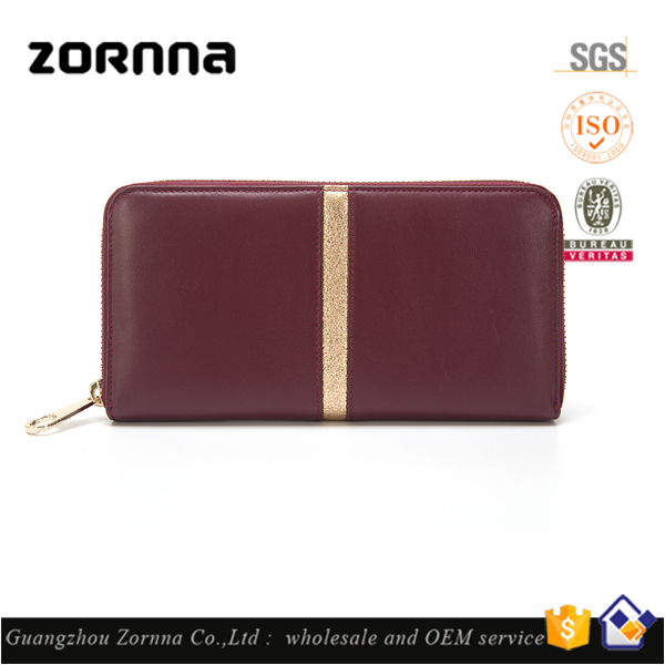 Ladies High Quality PU Leather Strip Zipper Wallet free Sample from Guangzhou Wallet Factory 2016