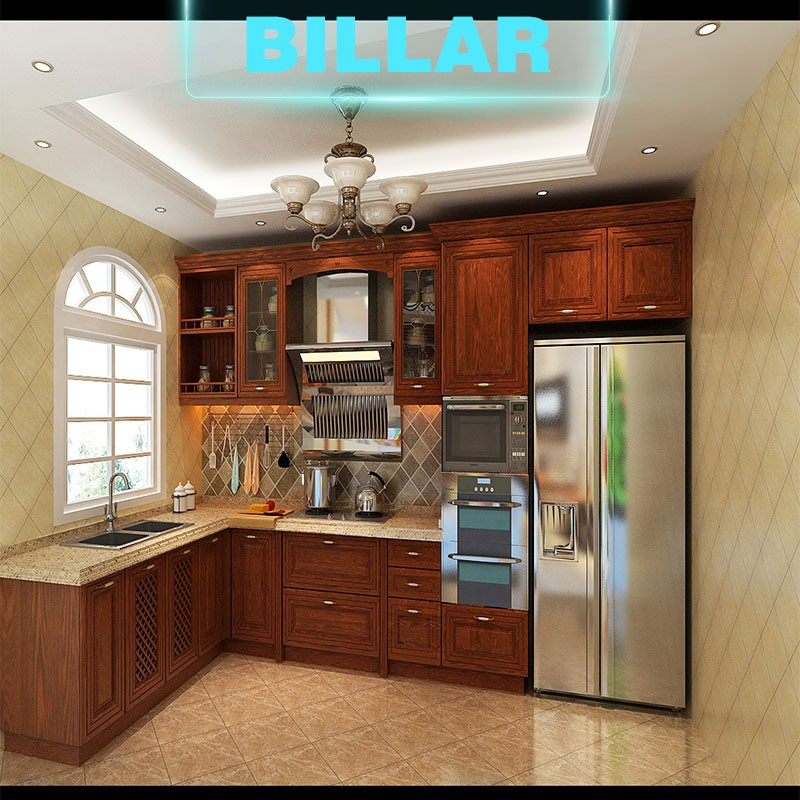 China factory prefab classical style solid wood kitchen for Cheap solid wood kitchen cabinets