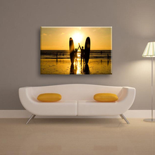 Sunset glow and sea scenery canvas wall painting for home decorate