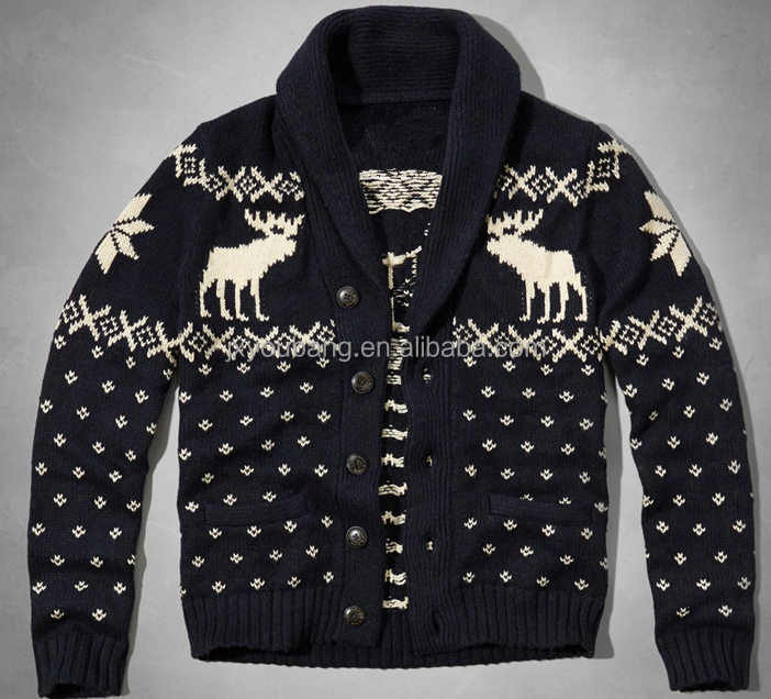 fashion new design jacquard christmas cardigans sweater for mens with deer