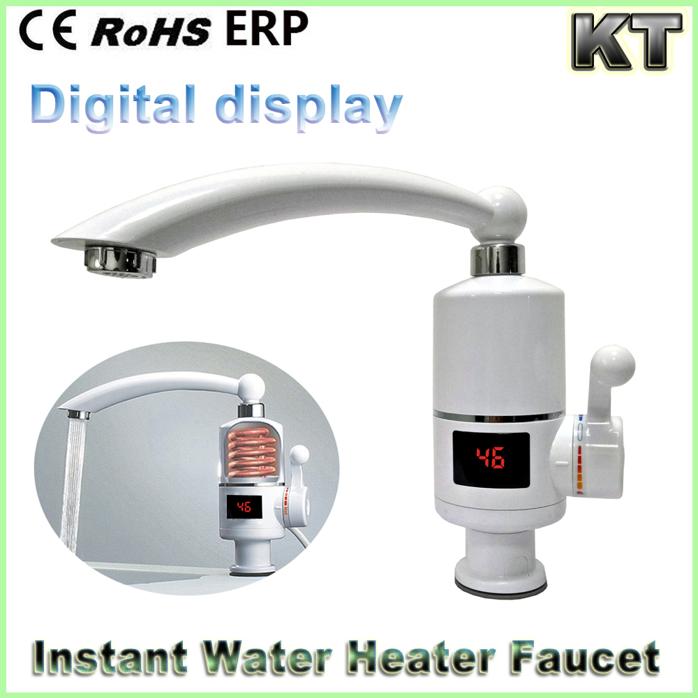 220V 3000w Digital Instant Tankless Heating Electric Faucet 360 Rotate Kitchen Water Heater Mixer Tap
