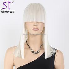 "17"" Blunt Cut Medium Long Super Straight Silver White Heat Resistant Synthetic Mannequin Display Wig With Wig Cap"