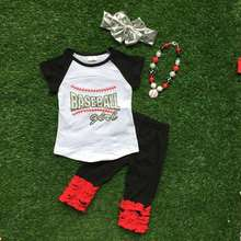 2016 new hot baby girls summer baseball capri set boutique outfit black and red clothing with mat.ching necklace and headband