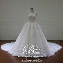 Shimmering top quality bateau long sleeeve ball gown wedding dress