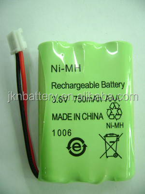 OEM rechargeable 3.6v 750mah ni-mh battery pack for phone battery