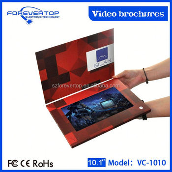 Factory lowest price 10 inch touch screen leather video brochures 3.5 inch
