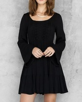 Custom design long sleeve black dress casual women guangzhou wholesale clothing
