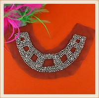 Elegant silver neckline trim beaded collar/neck trim for garment