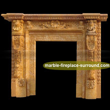 traditional natural stone hand carved shell gas fireplace indoor