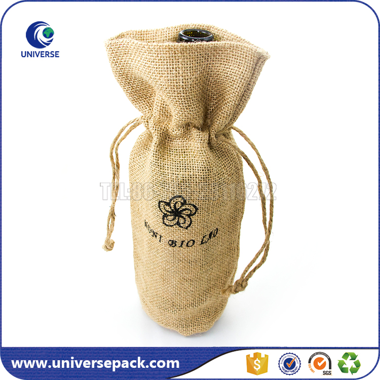 Wholesale Natural Burlap Drawstring Wine Bags With Custom Logo
