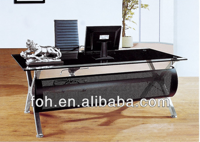 Modern retangular tempered glass top executive office desk(FOHYTJ-8051)