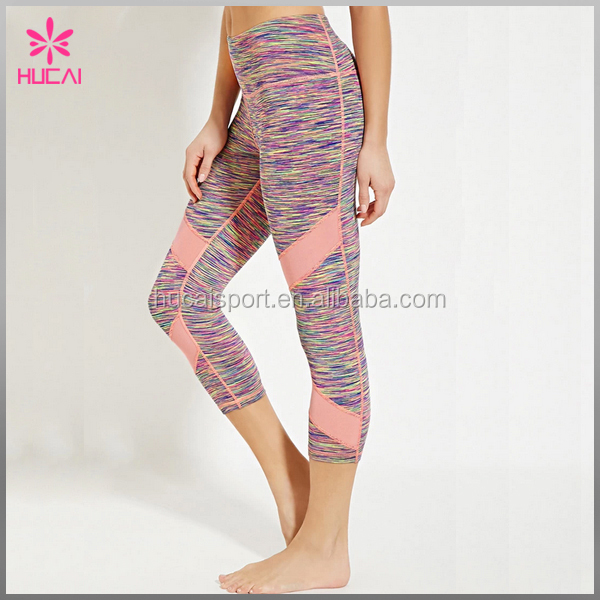 Wholesale Dry Fit Yoga Pants Space Dye Women Athletic Capri Leggings