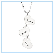 Dangling Hearts Stainless Steel charm Necklace for Three Names