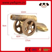 Handmade natural wooden military toy cannon
