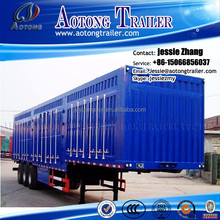 China manufacture Van Type bulk cargo or food Transport tri-axles Box Semi truck trailer for sale