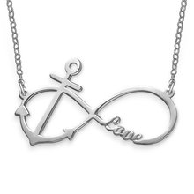 925 Sterling Silver Love Infinity Anchor Charm Necklace