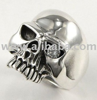 Diamond Skull Mens Rings Sterling Silver Jewelry Keith Richards Skull Designer Jewellery Rock Biker