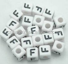 Acrylic Plastic White Square Beads Single F Cube Alphabet Letter Beads