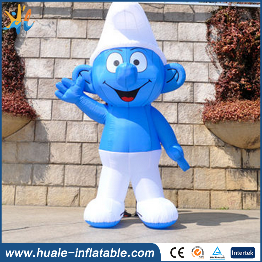 Hot sale giant inflatable smurf cartoon character for christmas decoration