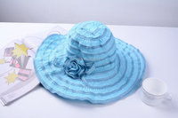 Foldable wide-brimmed sun hat with flowers / polyester Ladies hats