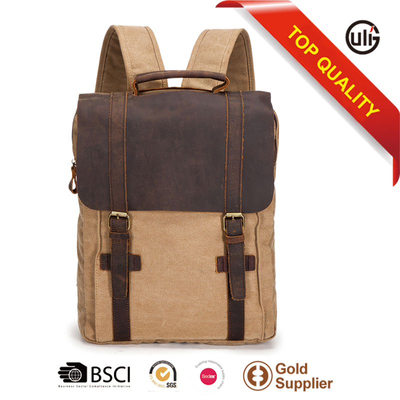 Cotton canvas genuine leather backpack rucksack bookbag hiking travel school backpack
