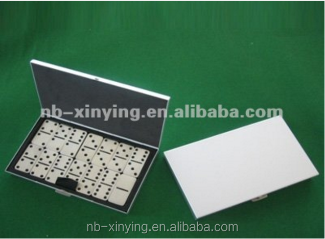 Mini Domino Set In Metal Box including 32 pcs /mini portable travel aluminum domino